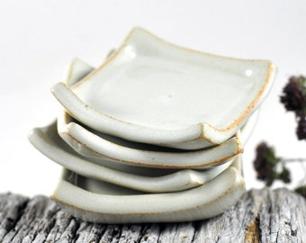 Ceramic Condiment Dishes Cream White Handmade Ring Dish Candle Holder Trinket Set of Four Wedding Decor