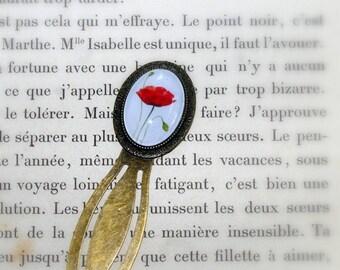 Bookmark romantic poppy on white background