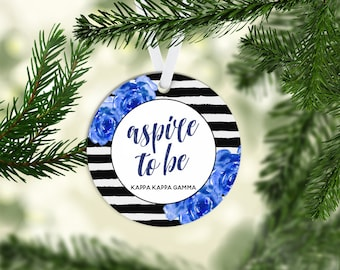 KKG Kappa Kappa Gamma Motto 3 Inch Acrylic Christmas Ornament Greek Sorority Life