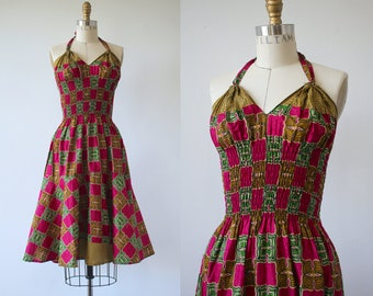 vintage 1970s dress / 70s batik print dress / 70s African wax print dress / 70s sun dress dress / festival dress / 70s halter dress / xs s m