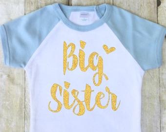 Big Sister Shirt-Big Sister Announcement Shirt-New Baby Announcement Shirt-Sibling Announcement Shirt-Pregnancy Reveal-Gold Glitter-