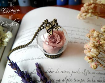 Rose pendant, romantic necklace, dried flower pendant, vintage necklace, terrarium necklace, cameo pendant, choker, real rose pendant