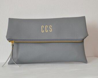 Grey Personalized Clutch Bag / Foldover Clutch Purse / Evening Clutch / Initials Clutch Bag / Bridesmaid Gift / Wedding Clutch Purse