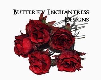 Red Wedding Hair Flowers, Bridal Flower Hairpins - 6 Red Rose Flower Hair Pins
