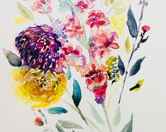 Watercolour Wildflower bouquet #1 Original Painting