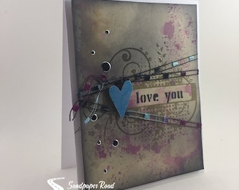Love You Boho Valentine's Day card - kraft with black fiber ribbon