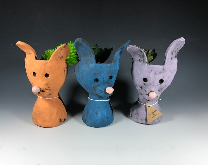 Little Pothead Peeps Bunnies // Rabbits // Cute // Small Planters // Office Decor // Succulent Pots // Animal // Handmade // Unique // Gift