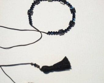 Handmade black bracelet with hematite