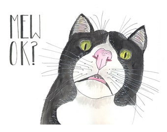 Mew OK? concerned cat greeting card, you okay, animal mugshot, housepet kitty pet face, illustration, hand lettering, worried about a friend