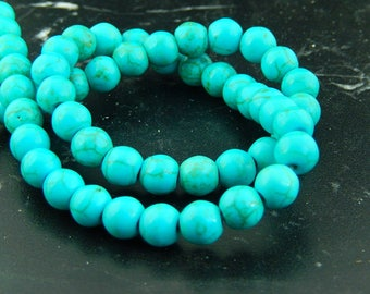 Turquoise Blue or beige 8mm set of 47 beads