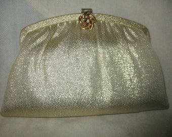 Vintage H.L. gold lame clutch