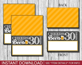 Cheers and Beers to 30 Years Tent Cards - Buffet Cards - Food Labels - Place Cards - Printable Digital File - INSTANT DOWNLOAD
