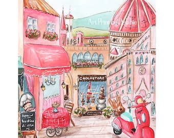 Florence Italy Italian Girl Personalized Bedroom Decor, Pink Travel Theme Nursery Print, Duomo, Bell Tower, Pinocchio, 6 Sizes, 5x7 to 24x36