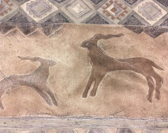Vintage - Cave Painting grey and brown pattern