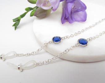 Silver Eyeglass Chain with Deep Blue Accent, Chain for Glasses Lanyard, Reading Glasses Chain, Eyeglass Chains, Gift for Her