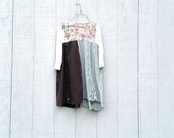 Floral Dress, Upcycled Clothing, Recycled, Reclaimed, Eco Fashion, Ladies Tunic, 3/4 Length Sleeve, Cotton, Jersey by CreoleSha