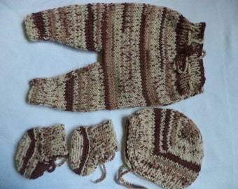 Knitted set baby pants baby booties baby Hat Gr. 44 / 50 Preemies