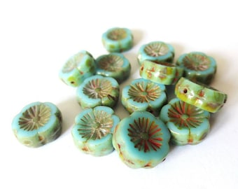 4 beads 12mm Hawaiian Hibiscus flower Czech glass Opaque Turquoise/Picasso