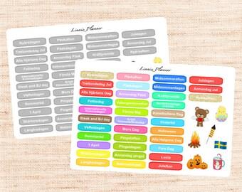 Swedish Holidays (matte planner sticker, Erin Condren, Happy Planner, Filofax, Kikki K)
