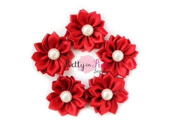 Dark Red Small Satin Pinwheel with PEARL Flowers- You Choose Quantity- DIY Headband Supplies- Flower- Wholesale- Supply Shop