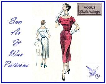 "1950s FF Unused Vogue Special Design S-4503 4503 Sheath Dress Low Scoop Neckline Yoke Vintage Sewing Pattern Size 14 Bust 32"" 83cm"