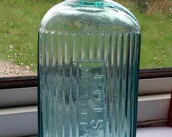 Large Antique Poison Bottle. Ribbed Aqua Glass. 1910's.
