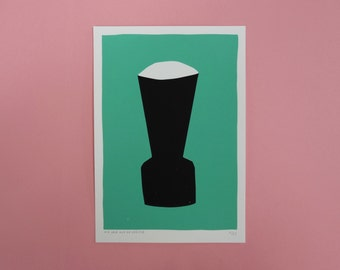 A black vase screen print