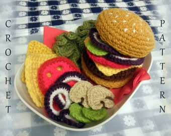 Hamburger Play Food PDF Crochet Pattern