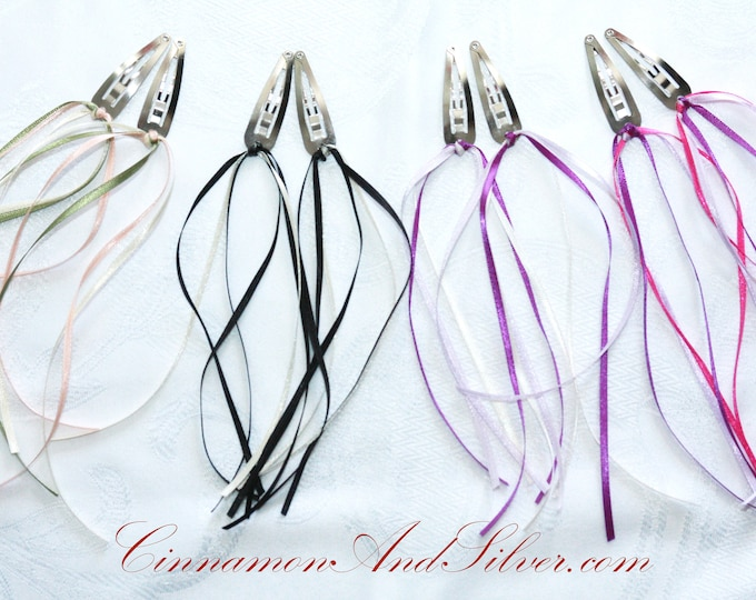 Princess Ribbon Hair Clip, Cheerleader Streamer Hair Clip, Fantasy Streamer Ribbon Hair Accessory Clip, Princess Streamer Barrette