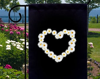 Daisy Heart New Small Garden Yard Flag Floral Home Decor Gifts Events