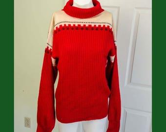Vintage 1960's Men's Mod Red Acrylic Mock Turtleneck Sweater
