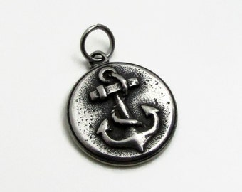 Anchor Charm, Stainless Steel Charm, Jewelry Pendant, SST Findings 19mm, Set of 3, Anchor Jewelry Charm, Stainless Steel Anchor Pendant