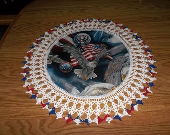 Crocheted, Patriots Eagles, Americana Doily, Fabric Center, Crocheted Edge Doilies Handmade 20 Inches Centerpiece Table Topper Handmade Gift