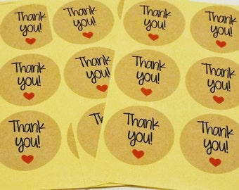 Kraft Brown Circle Thank You Note with red heart. 60 Stickers!