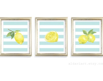Lemon Art Prints - Lemon Wall Art - Lemon Watercolour Prints - Modern Kitchen Wall Art - Set of 3 - Yellow and Blue Decor - custom color