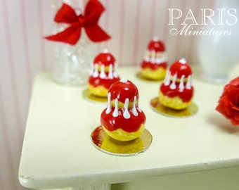 French Religieuse Pastry in Red - 12th Scale Miniature Food