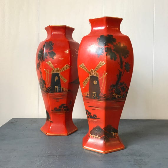 vintage ceramic vase - Asian chinoiserie - hand painted vase windmill - orange brown gold - Set of 2