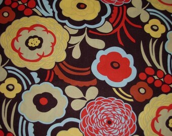 Mocca Floral Fabric Alexander Henry Large Abstract Flowers Cotton Quilting Yardage Brown Red Blue BTY By The Yard