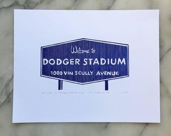 Welcome to Dodger Stadium Sign, Unframed Letterpress Print