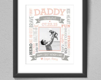 First Father's Day - Daddy, Grandpa Established Date Printable Custom 8x10 Image