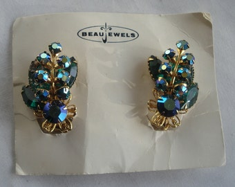 Beau Jewelry Earrings Blue Aurora Borielis Glass Gold Tone Signed 02910