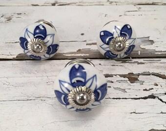 Cobalt Blue Tomato Knobs, Decorative Pull Knob, Furniture Upgrade Ceramic Drawer Pulls, Home Improvement Cabinet Supplies Item #286510785