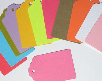144 paper  tags - use for - colorful gift tags-  wedding tags -packaging tags - paper goods