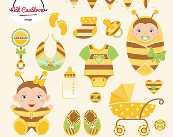 Bee Baby girl clipart pack, baby girl vector image, baby shower clipart, baby onesie clipart,  vector graphics CL017