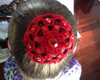 Small Crochet Hair Bun with Rhinestone, Crochet Bun Cover, Bun Holder, Ballet Bun Cover.