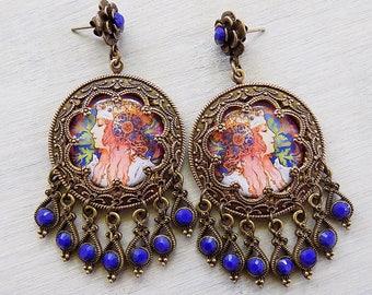 Lapis Blue Earrings, Gypsy earrings, Art Nouveau, Boho earrings, Boho jewelry, Cobalt blue earrings, vintage art, gypsy jewelry, earrings
