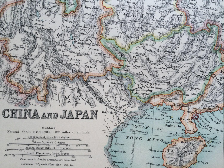 1907 China And Japan Original Antique Map Cartography