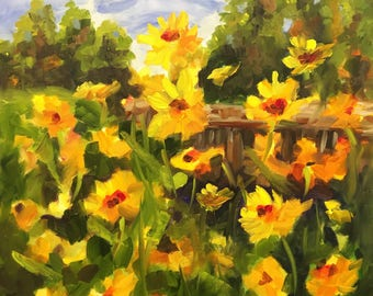"Daisy Dreams 20x20"" oil on canvas. Inspired by summer in Colorado Rocky mountains"
