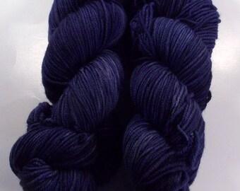 Inky Blue on Octosport  SW Merino Hand dyed Sport weight  yarn