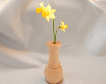 Graduation gift, gift for her, maple wood bud vase, turned off-round gifing it an oval base